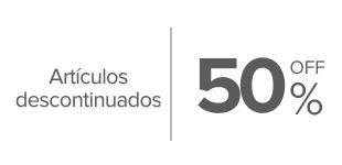50%, Descuento en productos seleccionados. Varias marcas.