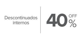 40%, Descuento en productos seleccionados. Varias marcas.