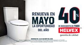 40%, Descuento en productos de la marca Helvex - Cerámica
