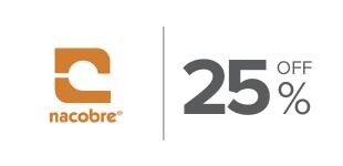 25%, Descuento en productos de la marca Nacobre Conexion de Agua