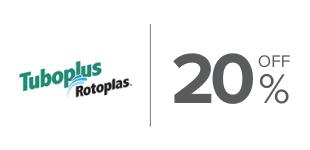 20%, Descuento en productos de la marca Tuboplus